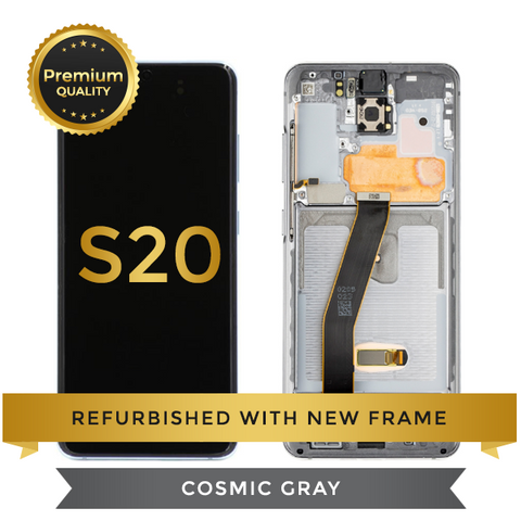 Refurbished Samsung Galaxy S20 LCD Digitizer display assembly with front housing, Cosmic Gray