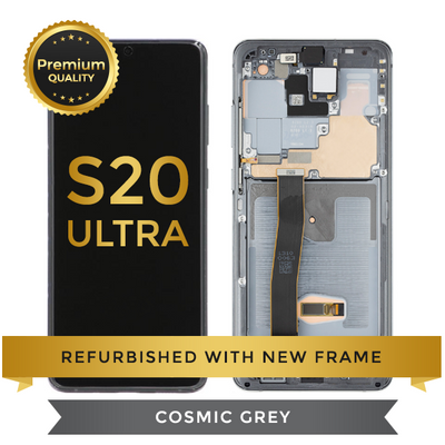 Refurbished Samsung Galaxy S20 Ultra LCD Digitizer display assembly with front housing, Cosmic Gray