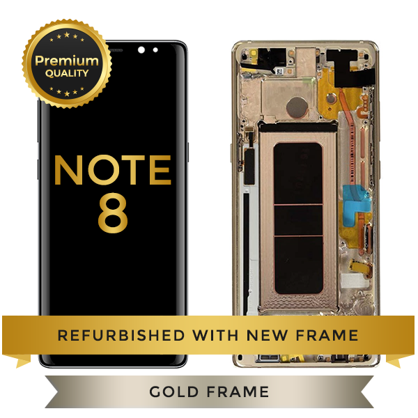 Replacement LCD Digitizer Assembly With Frame, Gold For Samsung Galaxy Note 8