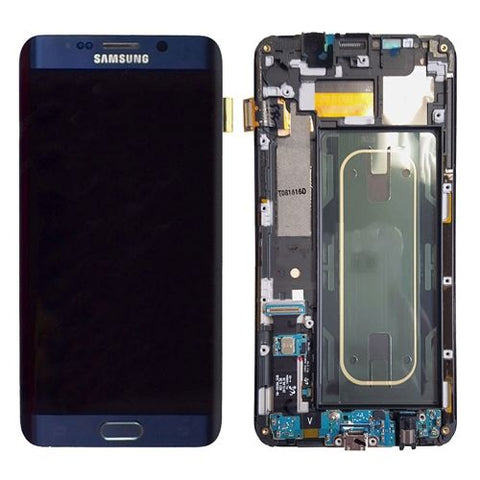Genuine Samsung Galaxy S6 Edge + Plus LCD Screen & Digitizer Assembly, Blue / Black with Home Button Keypad