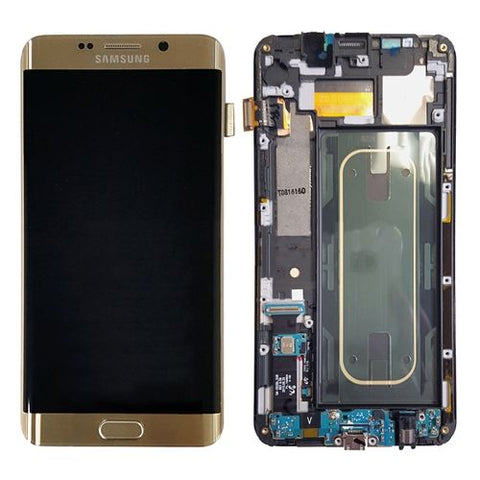 Genuine Samsung Galaxy S6 Edge + Plus LCD Screen & Digitizer Assembly, Gold with Home Button Keypad