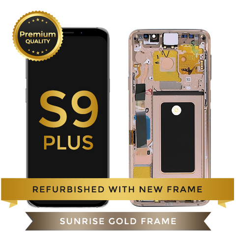 Refurbished Samsung Galaxy S9 Plus LCD Digitizer display assembly with front housing, Gold