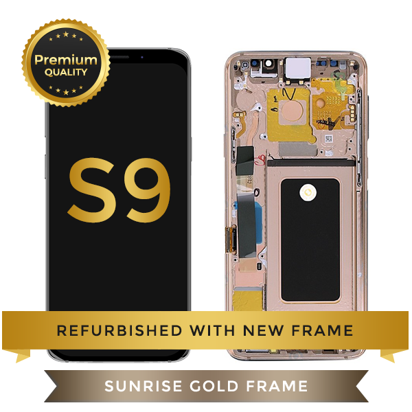Refurbished Samsung Galaxy S9 LCD Digitizer display assembly with front housing, Gold