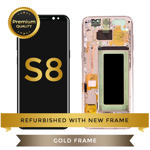 Refurbished Samsung Galaxy S8 LCD Digitizer display assembly with front housing, Gold