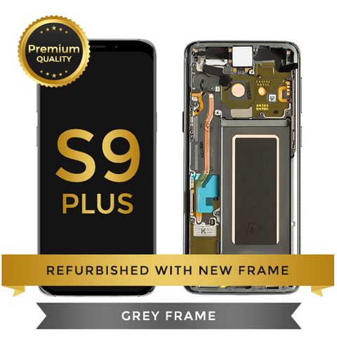 Refurbished Samsung Galaxy S9 Plus LCD Digitizer display assembly with front housing, Grey