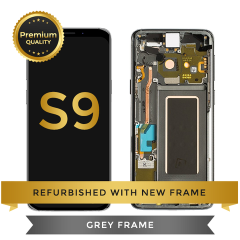 Refurbished Samsung Galaxy S9 LCD Digitizer display assembly with front housing, Grey