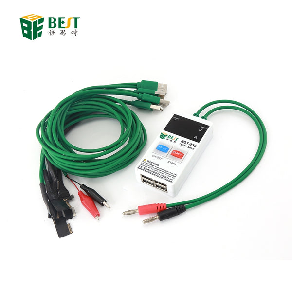 BEST-053 Mobile Phone Repair Tools Power Data Cable for iPhone Samsung DC Power Supply Phone Current Test Cable with 4USB Output