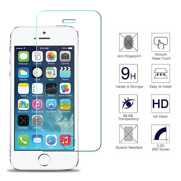 iPhone 5S / SE 0.33mm 2.5D Premium Tempered Glass Screen Protector (Clear) (4161670316096)