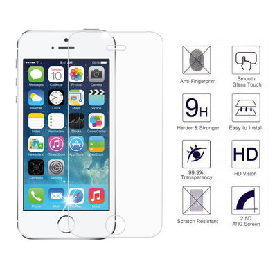 iPhone 5S/SE 2.5D 0.3mm 2.5D Tempered Glass Screen Protector (Clear) (4161680736320)