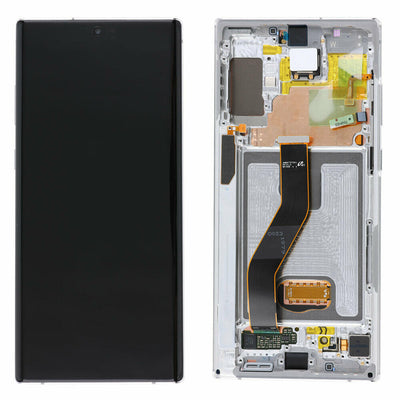 Genuine Samsung Galaxy Note 10 LCD Digitizer display Assembly with front housing, White