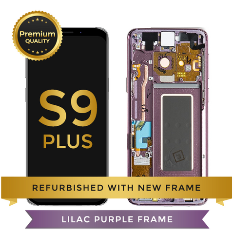Refurbished Samsung Galaxy S9 Plus LCD Digitizer display assembly with front housing, Purple