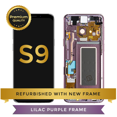 Refurbished Samsung Galaxy S9 LCD Digitizer display assembly with front housing, Purple