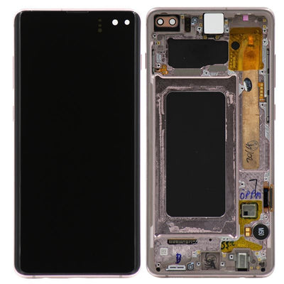 Refurbished Samsung Galaxy S10 Plus LCD Digitizer display assembly with front housing, Gold
