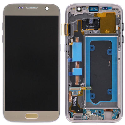 Replacement LCD Digitizer Assembly with Frame, Gold for Samsung Galaxy S7 (US Models Only)