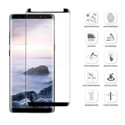Samsung Galaxy Note 9 3D Case Friendly Edge To Edge Tempered Glass (Black)