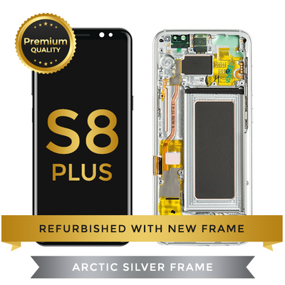 Refurbished Samsung Galaxy S8 Plus LCD Digitizer display assembly with front housing, Silver