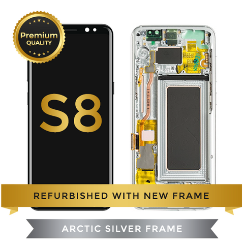 Refurbished Samsung Galaxy S8 LCD Digitizer display assembly with front housing, Silver