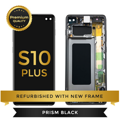 Refurbished Samsung Galaxy S10 Plus LCD Digitizer display assembly with front housing, Black