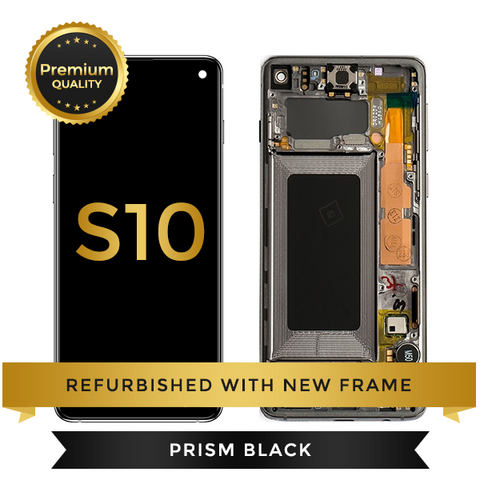 Refurbished Samsung Galaxy S10 LCD Digitizer display assembly with front housing, Black