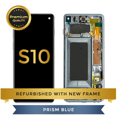 Refurbished Samsung Galaxy S10 LCD Digitizer display assembly with front housing, Blue