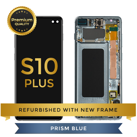 Refurbished Samsung Galaxy S10 Plus LCD Digitizer display assembly with front housing, Prism Blue