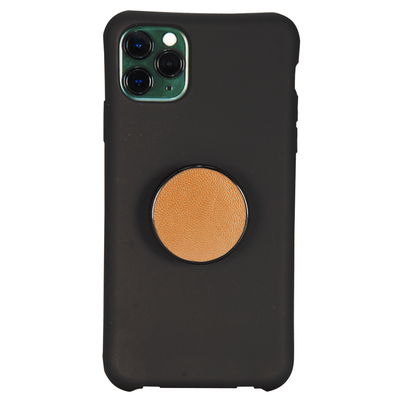 COOLGRIPS GENUINE LIGHT BROWN LEATHER PHONE GRIP AND STAND