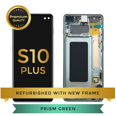 Refurbished Samsung Galaxy S10 Plus LCD Digitizer display assembly with front housing, Green