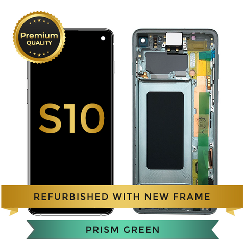 Refurbished Samsung Galaxy S10 LCD Digitizer display assembly with front housing, Green