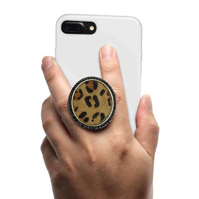 COOLGRIPS JEWEL SERIES CELL PHONE GRIP DARK LEOPARD PENDANT
