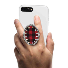 COOLGRIPS JEWEL SERIES CELL PHONE GRIP AND STAND PLAID PENDANT