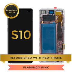 Refurbished Samsung Galaxy S10 LCD Digitizer display assembly with front housing, Pink