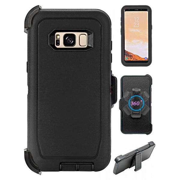 Heavy Duty Shock Reduction Case with Belt Clip (No Screen) for Galaxy S8