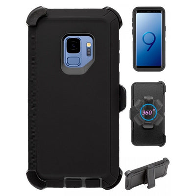 Heavy Duty Shock Reduction Case with Belt Clip (No Screen) for Galaxy S9