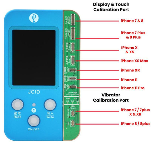 JC-V1S 4-IN-1 Mobile Phone code reading programmer for true tone touch / battery / fingure print board from iPhone 7 to iPhone 11 Pro