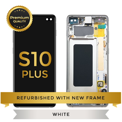 Refurbished Samsung Galaxy S10 Plus LCD Digitizer display assembly with front housing, Ceremic White