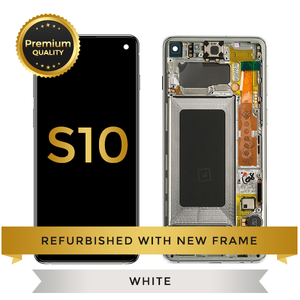 Refurbished Samsung Galaxy S10 LCD Digitizer display assembly with front housing, Ceremic White