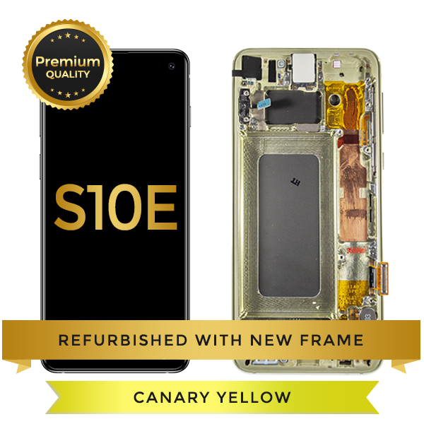 Refurbished Samsung Galaxy S10e LCD Digitizer display assembly with front housing, Yellow