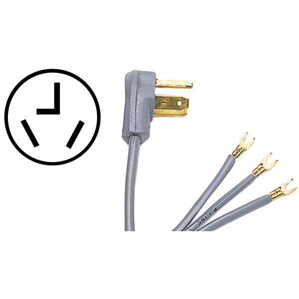Certified Appliance Accessories 90-1012 3-Wire Open-Eyelet 30-Amp Dryer Cord, 5ft