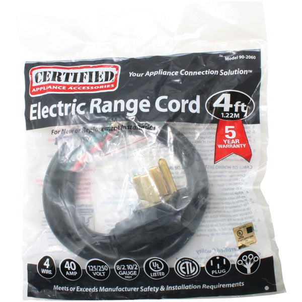 Certified Appliance Accessories 90-2060 4-Wire Closed-Eyelet 40-Amp Range Cord, 4ft