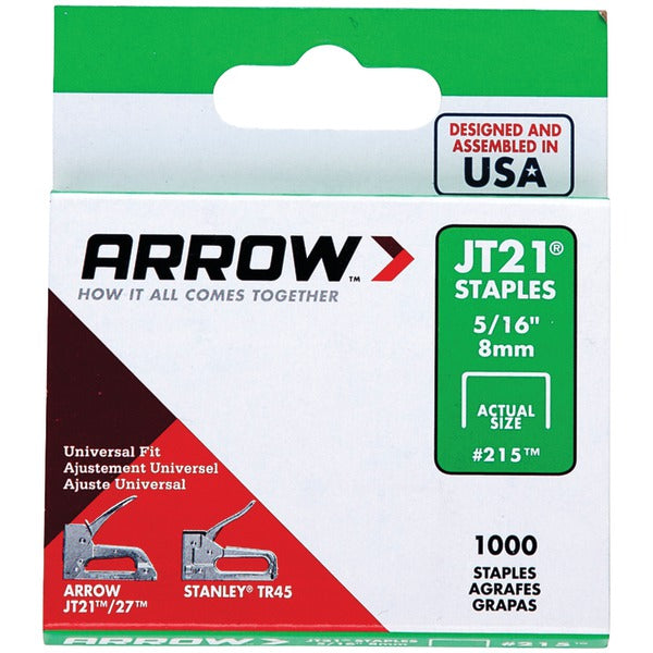 "Arrow 21524 JT21 Thin Wire Staples, 1,000 pk (5-16"")"