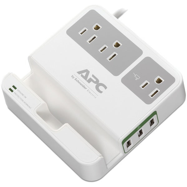 APC P3U3 3-Outlet SurgeArrest Surge Protector with 3 USB Ports (White)