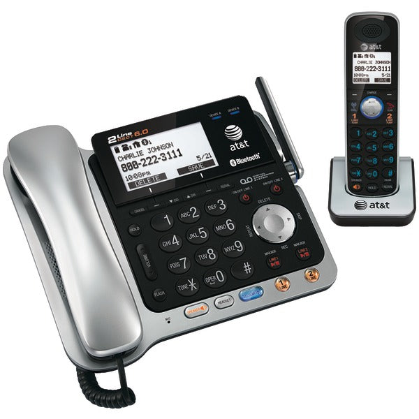 AT&T TL86109 DECT 6.0 2-Line Connect to Cell Corded-Cordless Bluetooth Phone System with Digital Answering System & Caller ID (Corded Base System & Single Handset)