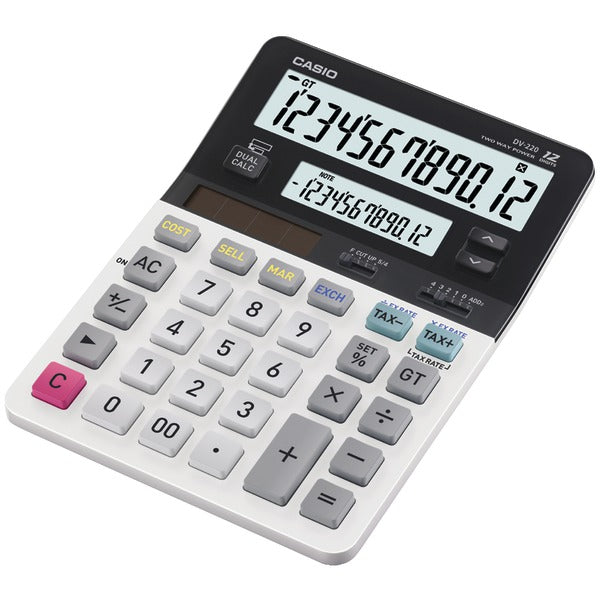 CASIO DV-220 Dual-Display Desktop Solar Calculator