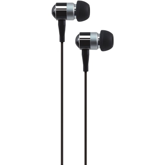 AT&T PEBM02-BLK PEBM02 In-Ear Aluminum Stereo Earbuds with Microphone (Black)