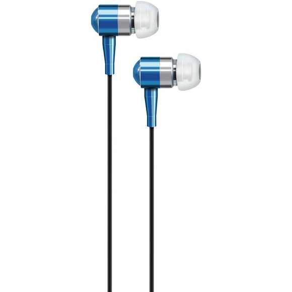 AT&T PEBM02-BLU PEBM02 In-Ear Aluminum Stereo Earbuds with Microphone (Blue)