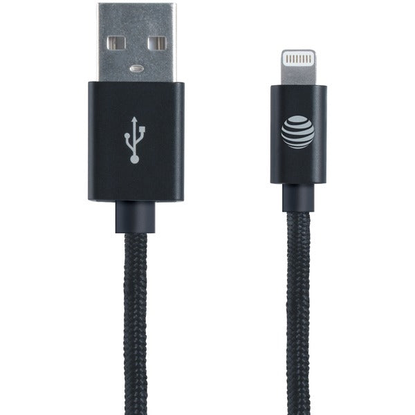 AT&T SC03B-LGT Charge & Sync Braided USB to Lightning Cable, 4ft (Black)
