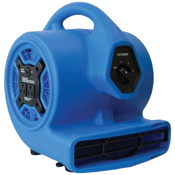 XPOWER P-100A P-100A 3-Speed Mini Air Mover-Floor Dryer-Utility Blower Fan with Built-in Power Outlets