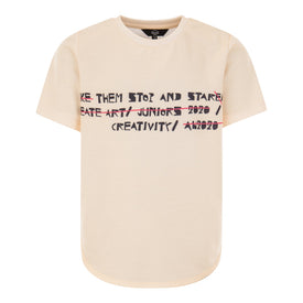 GIRLS CREAM OVERSIZED TEE SHORT SLEEVED T-SHIRT WITH FRONT TEXT