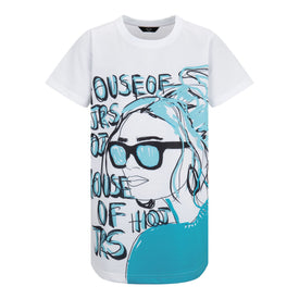 GIRLS HOJ BLUE FACE OVERSIZED T-SHIRT DRESS
