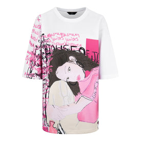 GIRLS PINK AND WHITE  HOJ ILLUSTRATED ART OVERSIZED TEE